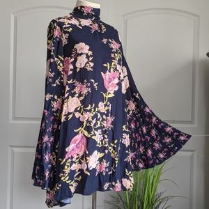 Free People Tate Tunic Dress L/S Floral Navy M NWT